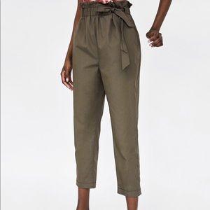 Zara Poplin Pants With Tie